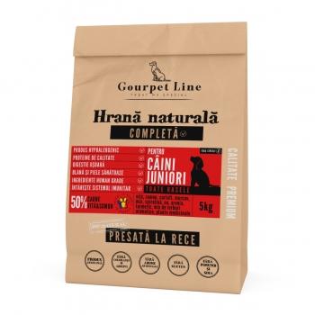 GOURPET LINE Junior, Vită și Somon, pachet economic hrană uscată presată la rece fără cereale câini junior, 5kg x 2