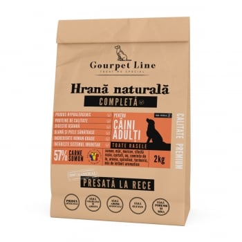 GOURPET LINE, Somon, hrană uscată presată la rece fără cereale câini, 2kg