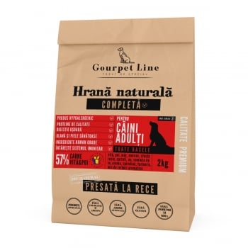 GOURPET LINE, Vită și Pui, pachet economic hrană uscată presată la rece fără cereale câini, 2kg x 2