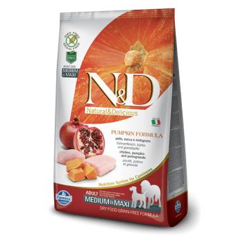 N&D Grain Free Adult Medium si Maxi, Pui, Rodie si Dovleac, 2.5 Kg