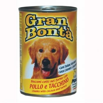 Conserva Gran Bonta pentru Caini cu Pui si Curcan 400 g