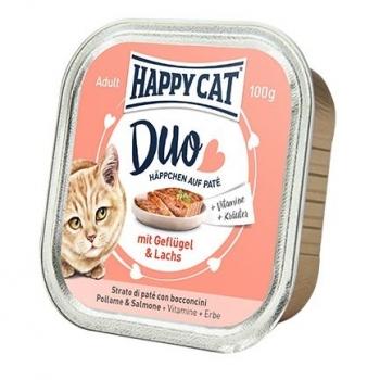 Happy Cat Duo Menu, cu Pui si Somon, 100 g imagine