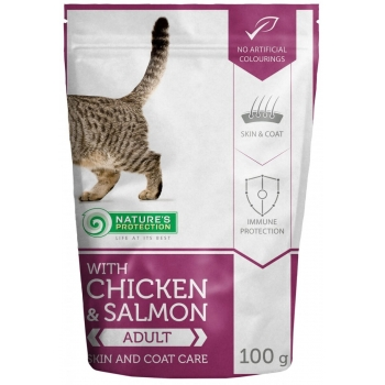 Natures Protection Cat Skin And Coat Pui si Somon, 100 g