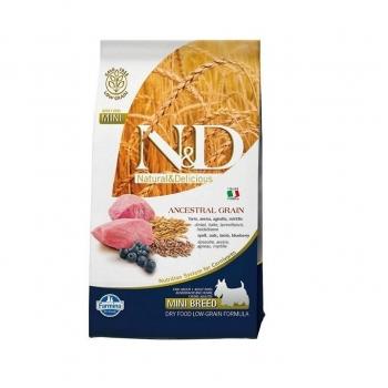N&D Low Grain Adult Mini Miel si Afine, 7 kg