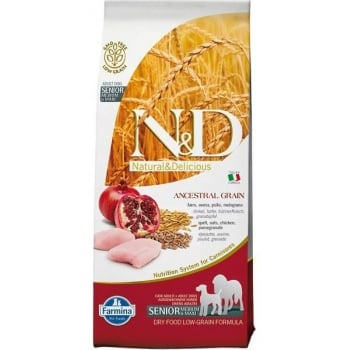 N&D Low Grain Senior Medium & Maxi, Pui si Rodie, 12 kg