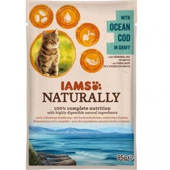 Iams Naturally Adult Cat, Cod, plic 85 g