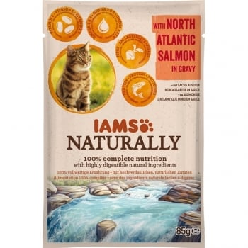 Iams Naturally Adult Cat Somon, plic 85 g