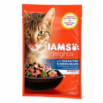 Iams Delights Cat Adult, Peste&Fasole, plic 85 g