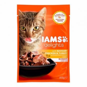 Iams Delights Cat Adult, Pui&Curcan, plic 85 g