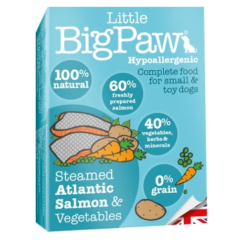 Pate Pentru Caini Little BigPaw Cu Somon Atlantic Afumat Si Legume, 150G