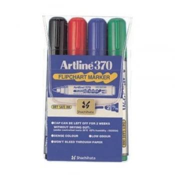 Flipchart marker varf rotund, 2.0mm, corp plastic, 4buc/set, ARTLINE 370 - (BK,RE,BL,GR)