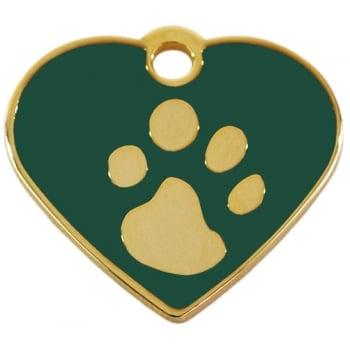 Medalion Inima cu Gravare Gratuita, cu Labute Verde Small