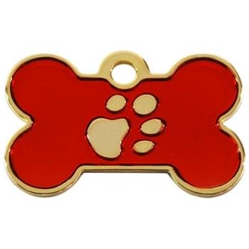 Medalion Os cu Gravare Gratuita, cu Labute Rosu Small