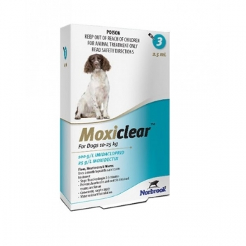 Moxiclear Caine Spot-On L 2.5 ml 10-25 kg 3 pipete imagine