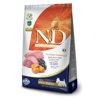 N&D Grain Free Adult Mini Miel, Afine si Dovleac, 2.5 kg imagine