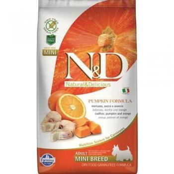 N&D Grain Free Adult Mini Peste, Portocale si Dovleac, 7 kg