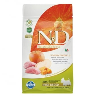 N&D Grain Free Mini Adult Mistret, Mar si Dovleac, 7 kg imagine