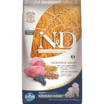 N&D Low Grain Puppy Medium&Maxi, Miel si Afine, 2.5 kg