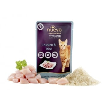 Nuevo Cat Adult Sterilized cu Pui si Orez Plic 85 g