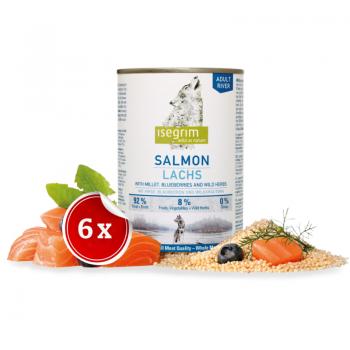 Pachet 6 Conserve Isegrim Dog Adult Salmon, 400 g imagine