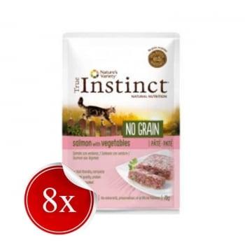 Pachet True Instinct Cat No Grain Somon si Legume, 8x70 g