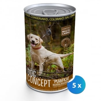Pachet Conserve Dog Concept Pui si Ficat, 5 x 1240 g