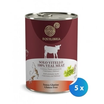 Pachet Conserve Equilibria Dog Single Protein Vitel 5 x 410 g