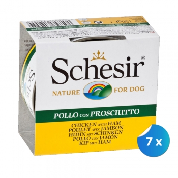 Pachet Schesir Dog cu Pui si Jambon 7 x 150 g imagine