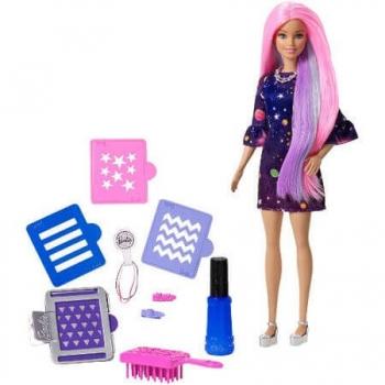 Papusa Barbie Cu Accesorii Pentru Vopsirea Parului