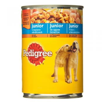 Pachet 4 Conserve Pedigree Junior cu Pui 400 g