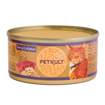 Pachet 8 buc Petkult Cat Grain Free Ton si Calamar 80 g imagine