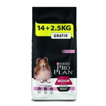 Pro Plan Adult Medium Sensitive Skin Somon, 14 kg + 2.5 kg Gratis