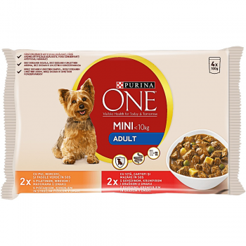 Purina One Dog Mini Adult, Pui si Morcov, 4x100 g imagine