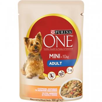 Purina One Dog Mini Adult, Pui si Morcov, 20x100 g imagine