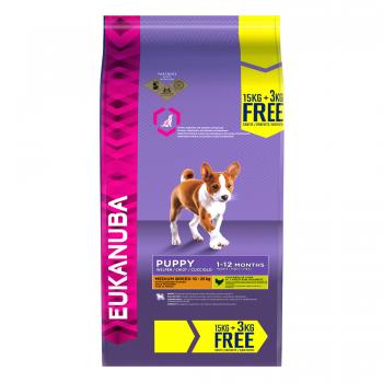 Eukanuba Puppy Medium cu Pui, 15 kg + 3 kg Gratis imagine