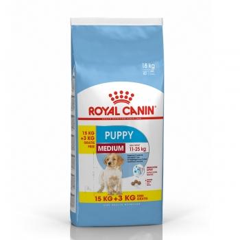 Royal Canin Medium Puppy, 15 kg + 3 kg Gratis