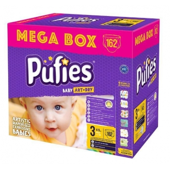 Scutece Pufies Baby Art Midi Mega Box 3, 4-9 Kg, 162 buc
