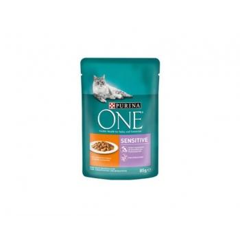 Purina One Cat Sensitive, Pui si Morcov, 85 g imagine