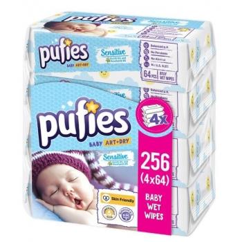 Servetele Umede Pufies Sensitive, 4 x 64 buc
