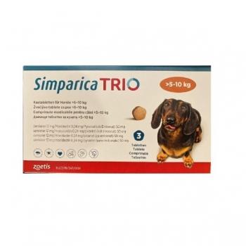 SIMPARICA Trio, comprimate masticabile antiparazitare, câini 5-10kg, 12 mg, 3 comprimate