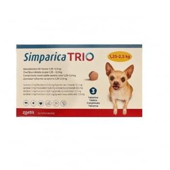 SIMPARICA Trio, comprimate masticabile antiparazitare, câini 1.25-2.5kg, 3 mg, 3 comprimate