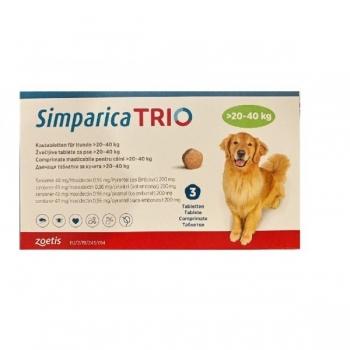 SIMPARICA Trio, comprimate masticabile antiparazitare, câini 20-40kg, 48 mg, 3 comprimate