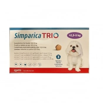 SIMPARICA Trio, comprimate masticabile antiparazitare, câini 2.5-5kg, 6 mg, 3 comprimate