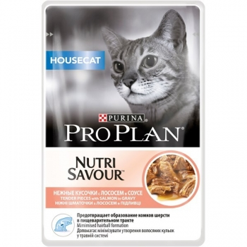 Pro Plan Housecat Nutrisavour, Somon in sos, 85 g