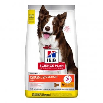HILL'S Science Plan Medium Adult, Pui cu Orez Brun, hrană uscată câini, sensibilități digestive, 2.5kg