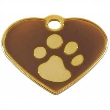 Medalion Tag Fashion Inima Labute L Gold / Brown