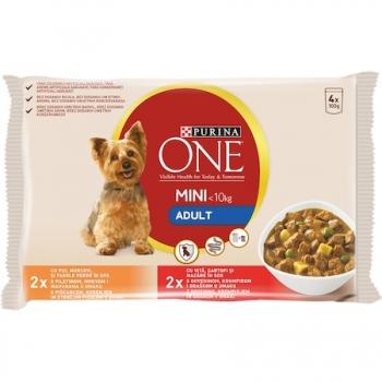Purina One Dog Mini Active, Vita si Cartofi, 4x100 g imagine