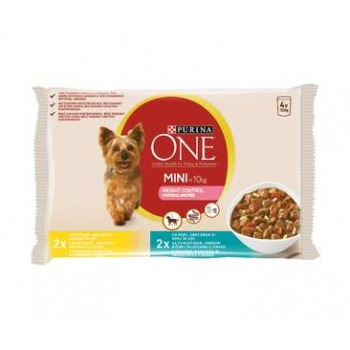 Pachet Purina One Dog Mini Weight Control, Curcan & Orez si Porc & Orez 4x100 g imagine