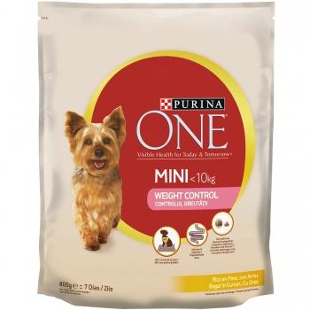 Purina One Dog Mini Weight Control, Curcan Si Orez, 800 G imagine