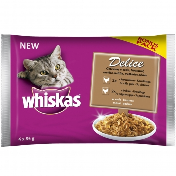 Whiskas Delice Multipack Pui si Pasare 4 x 85 g